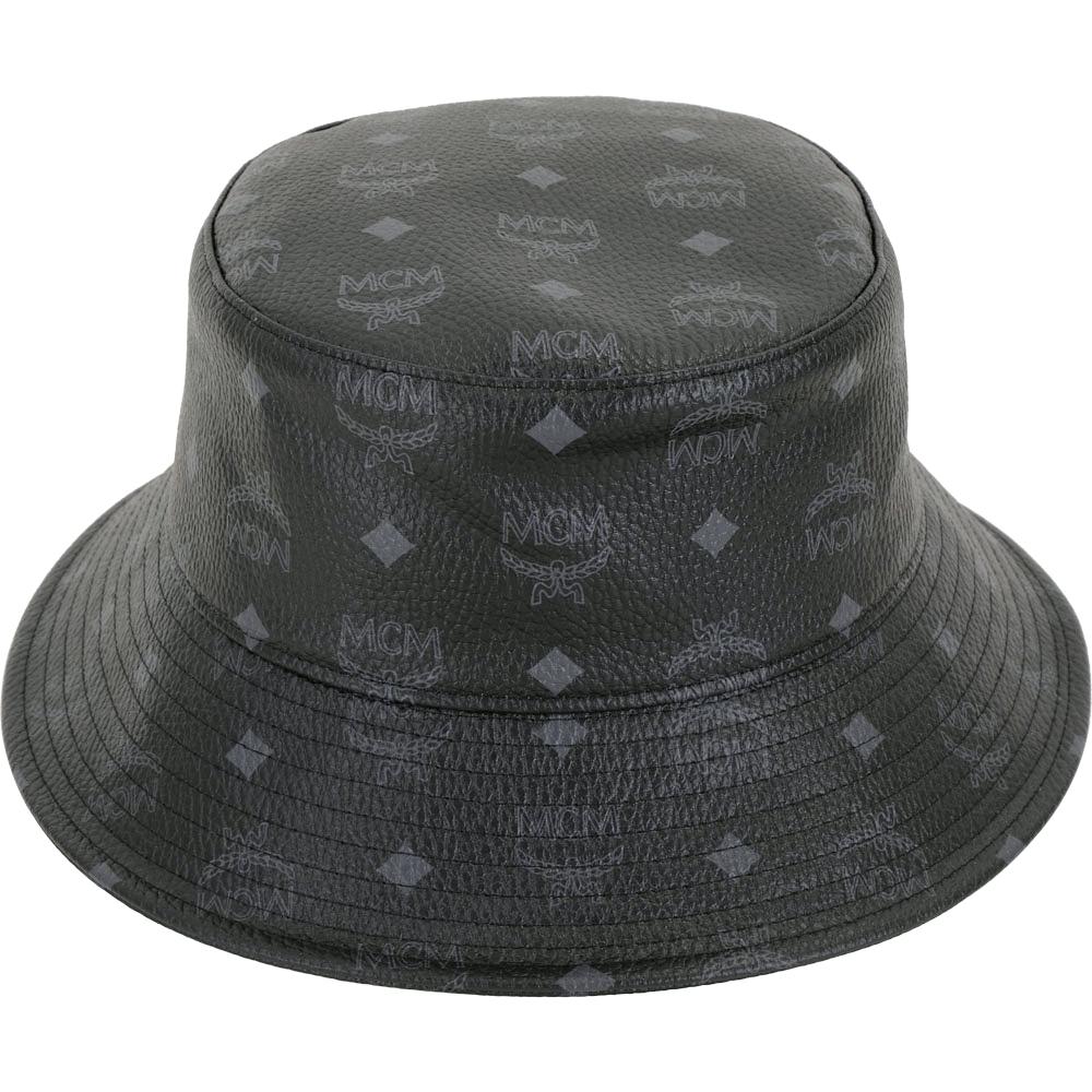 MCM Visetos 經典圖騰塗層帆布漁夫帽(黑色)