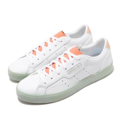 adidas 休閒鞋 SLEEK 復古 低筒 女鞋 愛迪達 三葉草 皮革鞋面 穿搭 白 綠 FW5464