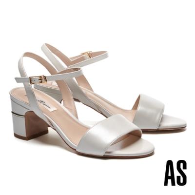 涼鞋 AS 極簡摩登感一字繫帶高跟涼鞋-白