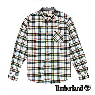 Timberland 男款白色法蘭絨粗格紋長袖襯衫