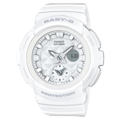 BABY-G 魅力無限時尚穿搭鉚釘風格休閒錶(BGA-195-7A)白色44.3mm