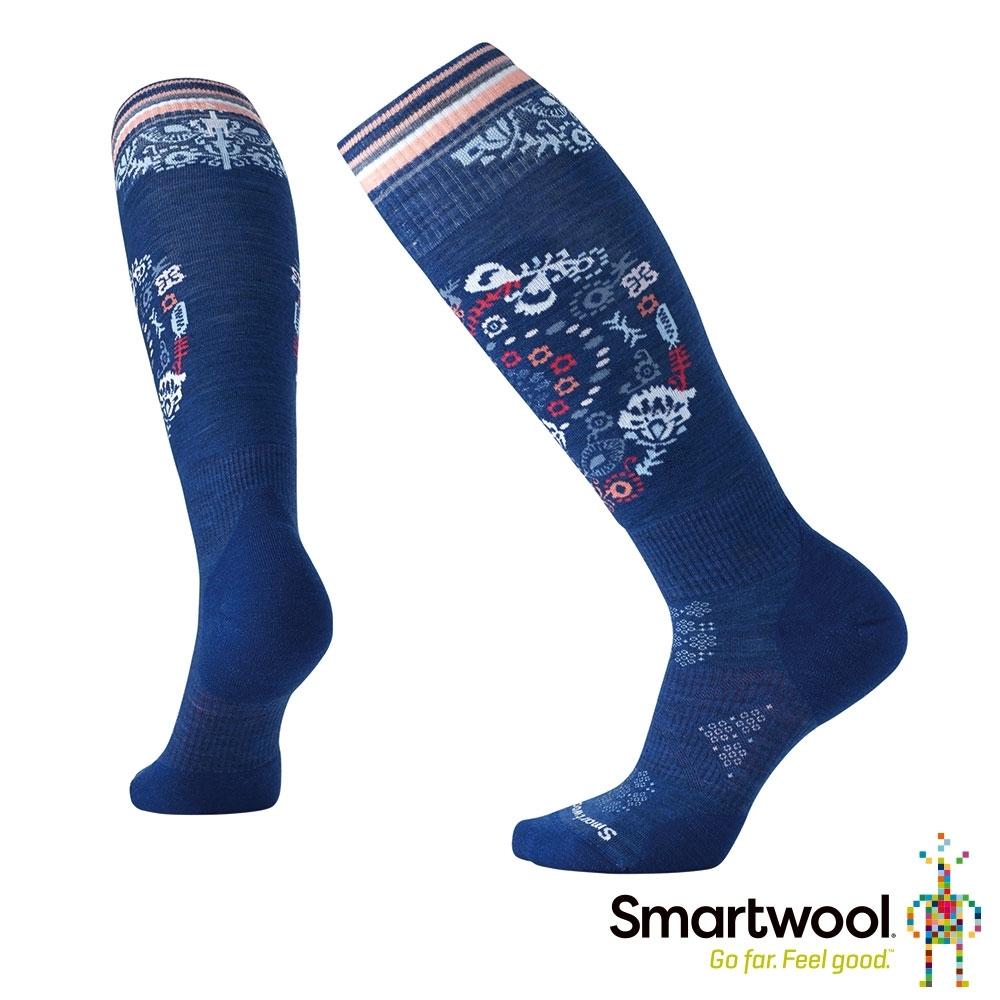 SmartWool 女 PhD滑雪輕量菁英減震印花高筒襪 深藍色