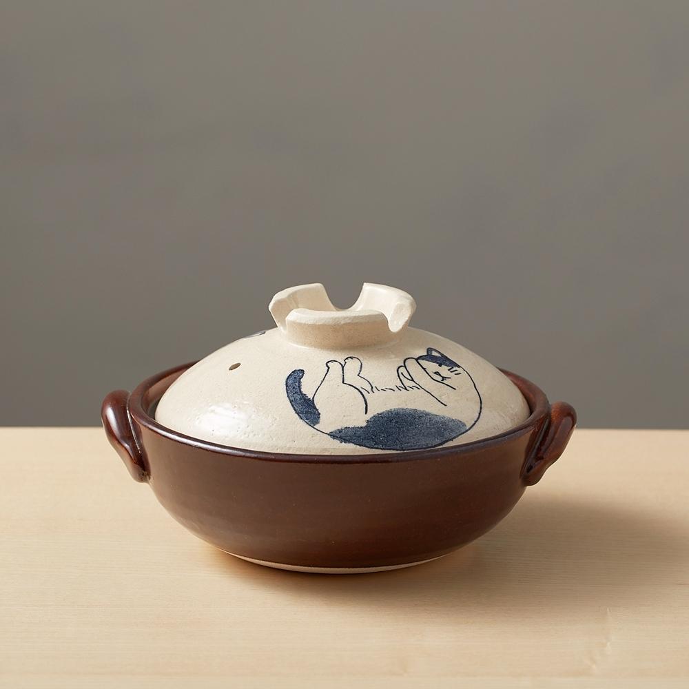 日本TAIKI太樹萬古燒 手繪土鍋6號-貓咪打呼(0.8L)