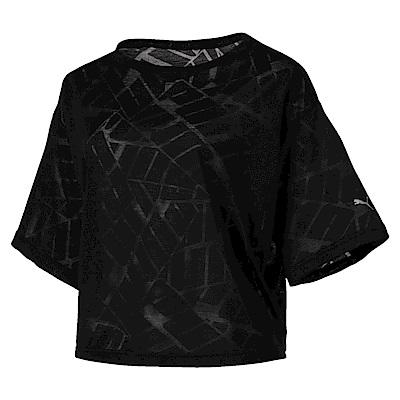 PUMA-女性訓練系列Show Off短袖T恤-黑色(麻花)-歐規