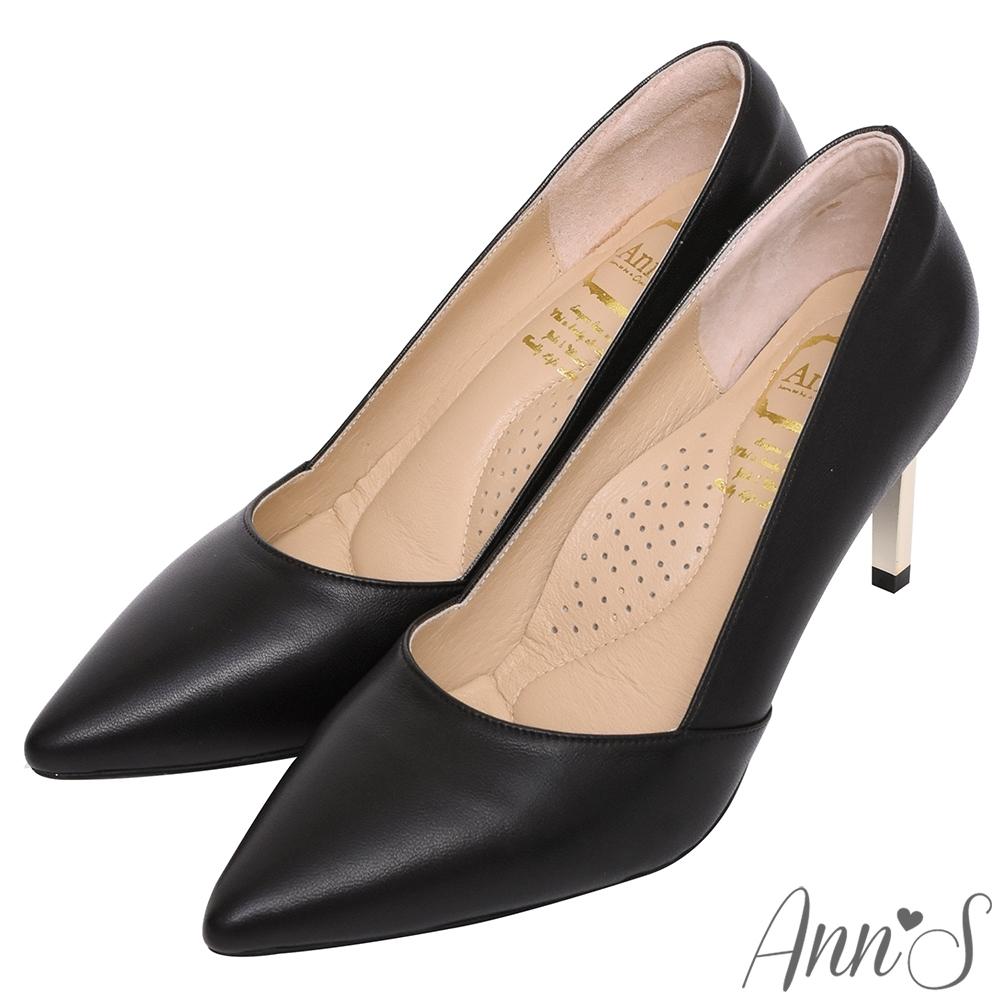Ann'S嚮往的女人味-性感弧線柔軟小羊皮電鍍細跟尖頭高跟鞋-黑