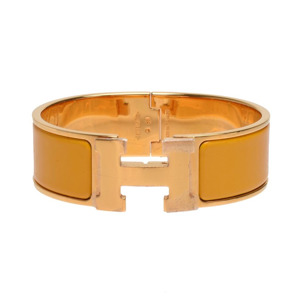 HERMES Clic H LOGO琺瑯中版手環(橙X金)