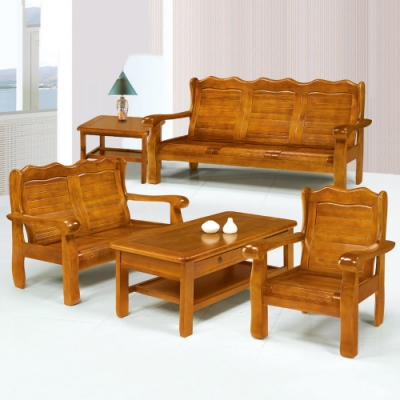 MUNA 766型柚木色實木組椅(全組)(附坐墊)  188X79X98cm