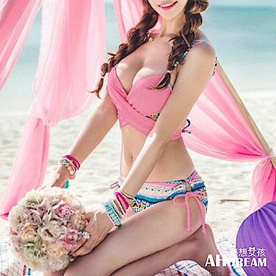 AH dream夢想女孩 鋼圈 波西米亞風圖騰印花綁帶比基尼泳裝