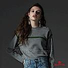 BRAPPERS 女款 單肩排釦圓領長袖線衫-淺灰