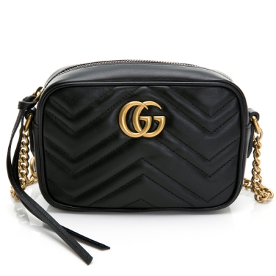 GUCCI  GG Marmont 2.0系列仿舊金色雙G LOGO 山字車紋拉鍊肩背包(黑色)