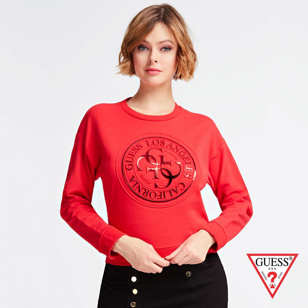GUESS-女裝-圓印圖章長袖上衣-紅 原價1990