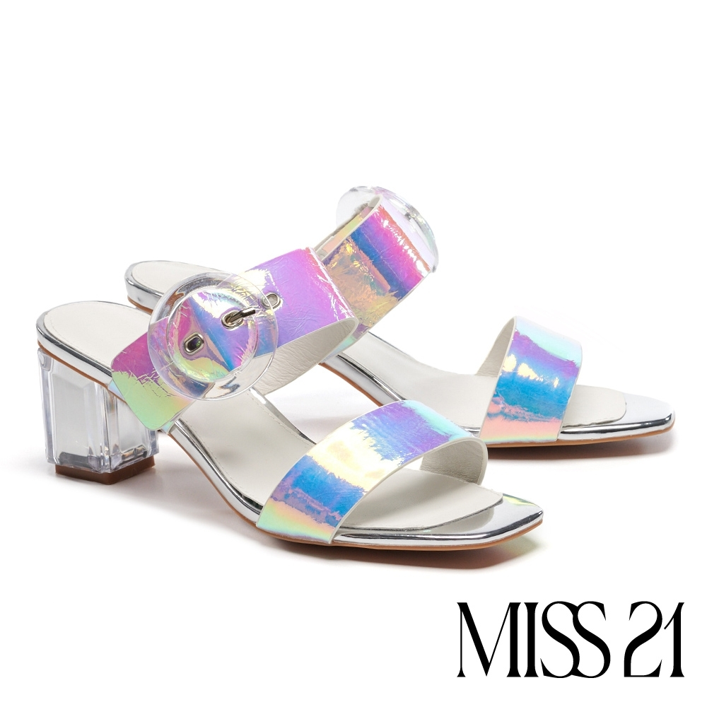 涼鞋 MISS 21 迷人海洋風大圓釦設計方頭粗跟涼鞋-幻彩