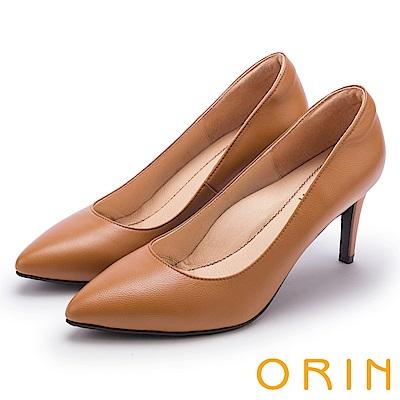 ORIN 典雅氣質 素面羊皮百搭尖頭高跟鞋-棕色