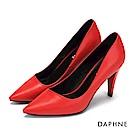 達芙妮DAPHNE 高跟鞋-素面時尚錐型跟晚宴高跟鞋-紅