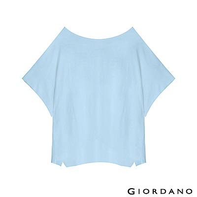 GIORDANO 女裝簡約素色寬版T恤-41 雪花酷藍色