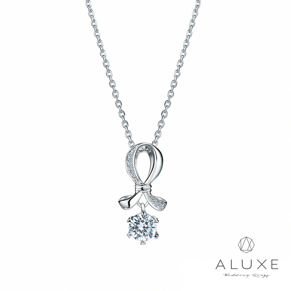 ALUXE亞立詩 18K金 0.30克拉 愛心6爪 擁愛鑽石項鍊