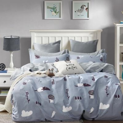 La Lune MIT頂級精梳棉200織紗雙人床包被套四件組 藍灰樂園