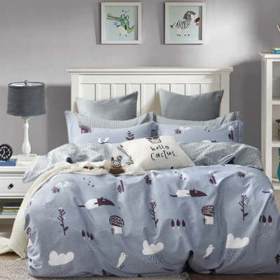 La Lune MIT頂級精梳棉200織紗雙人床包新式兩用被五件組 藍灰樂園