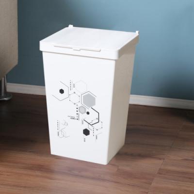 創意達人梅格兩段掀蓋式垃圾桶10L-2入組