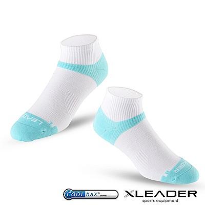 LEADER ST-06 Coolmax專業排汗除臭 機能運動襪 女款 白藍
