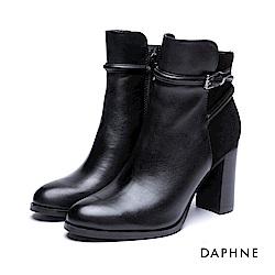 達芙妮DAPHNE 短靴-金屬皮釦牛皮異材質粗跟踝靴-黑