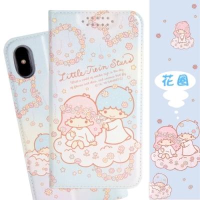 【雙子星】iPhone Xs Max (6.5吋) 甜心系列彩繪可站立皮套(花圈款)