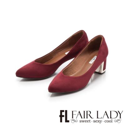 Fair Lady 優雅小姐Miss Elegant 格紋尖頭粗跟鞋 酒紅