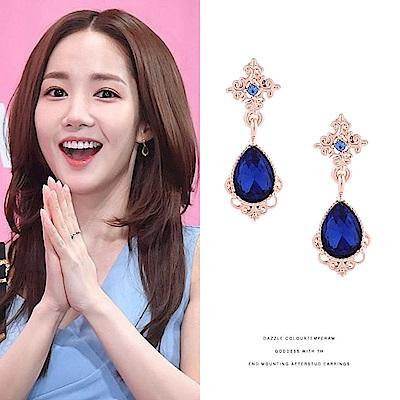 梨花HaNA 韓國她的私生活藍寶石雕花古典耳環