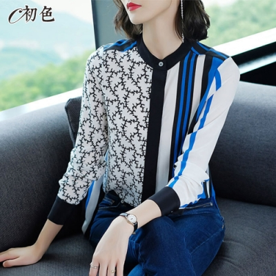 初色  拼接印花雪紡襯衫-藍色-(M-2XL可選)