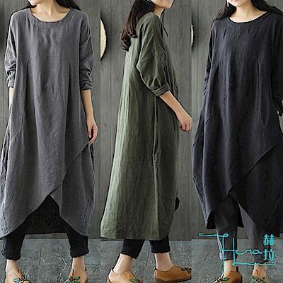 Hera 赫拉 新款秋季民族風 肩袖棉麻 寬鬆顯瘦連衣裙