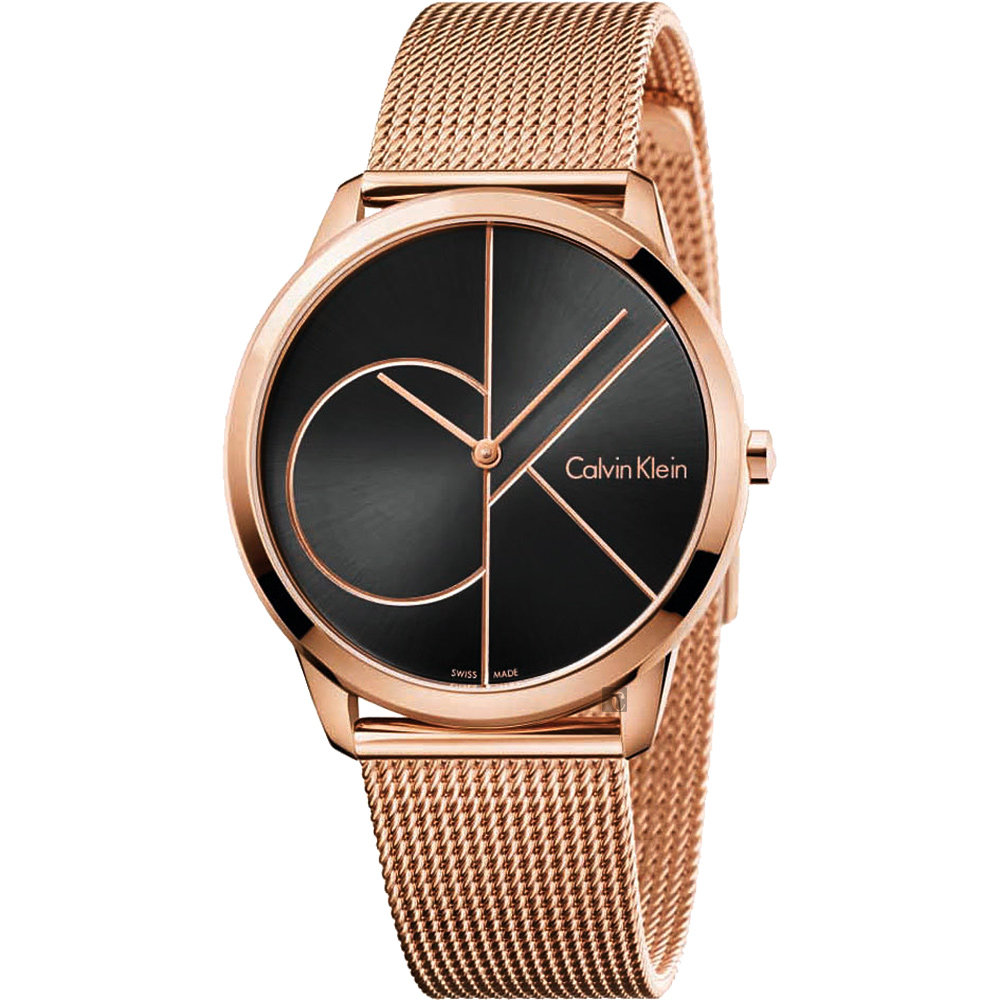 Calvin Klein CK Minimal 經典大LOGO手錶-黑x玫瑰金/40mm