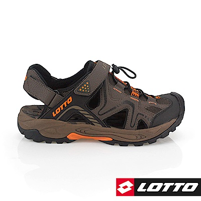 LOTTO 義大利 男 護趾排水運動涼鞋(咖啡)