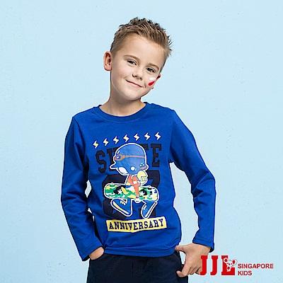 JJLKIDS 滑板少年印花純棉上衣(彩藍)