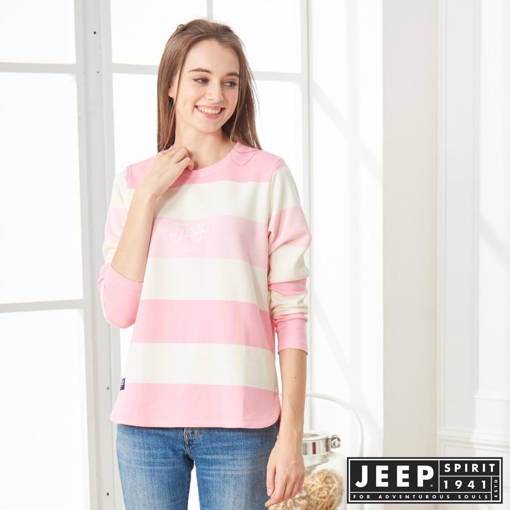 JEEP 女裝 簡約LOGO條紋長袖TEE-粉色