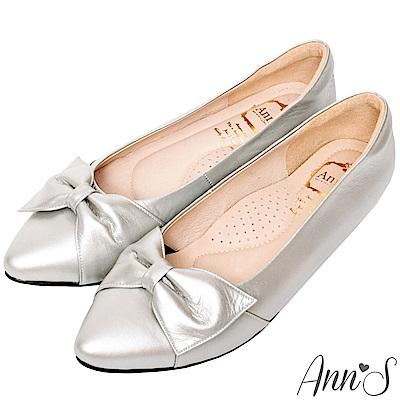 Ann'S拇指外翻救星造型蝴蝶結全真羊皮內增高尖頭鞋-銀(版型偏大)