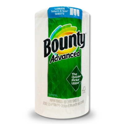 美國Bounty廚房紙巾-隨意撕107張/捲