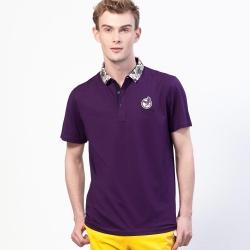 oillio歐洲貴族 超柔透氣修身POLO衫 特色花樣領設計 紫色