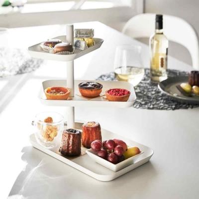 日本YAMAZAKI-tower三層點心餐盤(白)★甜點盤/水果盤/居家收納