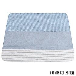 YVONNE COLLECTION 膠原美膚雙人四季被(6x7呎)-藍/灰條紋