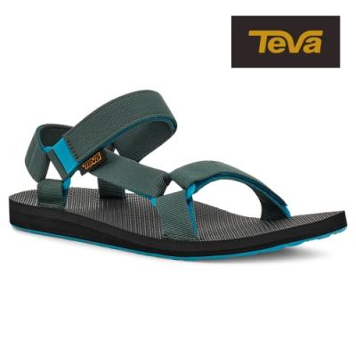 【TEVA】原廠貨 男 Original Universal 經典緹花織帶涼鞋/雨鞋/水鞋(藍綠色-TV1004006SKGRN)