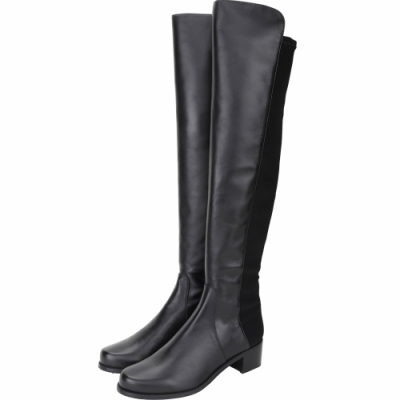 Stuart Weitzman RESERVE 皮革拼接過膝長靴(黑色)