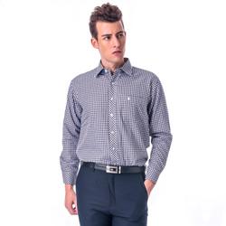 金‧安德森 棕白藍格紋保暖刷毛長袖襯衫