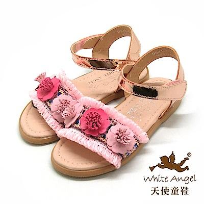 天使童鞋 巴黎小茉莉涼鞋(中-大童)D941-粉