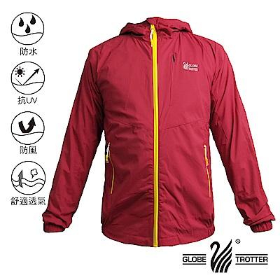 【遊遍天下】中性款防水防風抗UV連帽外套GJ13001紅色