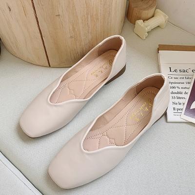 KEITH-WILL時尚鞋館 氣質OL百搭圓尖平底鞋-米色