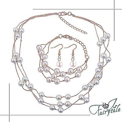 iSFairytale伊飾童話 珍珠煙花 典雅玫瑰金項鍊耳環手鍊三件套組