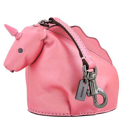 COACH 玫瑰粉色珠光真皮獨角獸造型零錢包