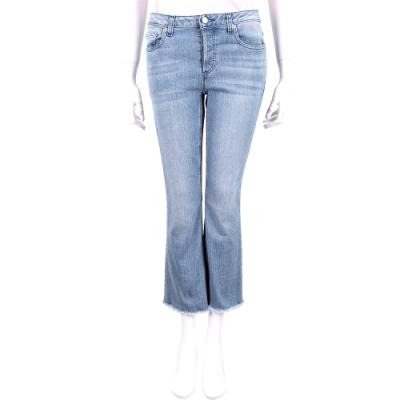 Michael Kors 淺藍復古刷色抽鬚單寧喇叭褲