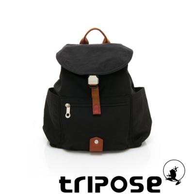 tripose MEMENTO系列微皺尼龍經典輕量後背包(小) 潮感黑