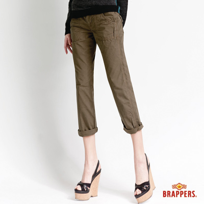 BRAPPERS 女款 Boy Friend Cargo系列-女用3D八分反摺褲-綠